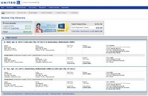 Salt Lake City to Amsterdam: United Booking Page