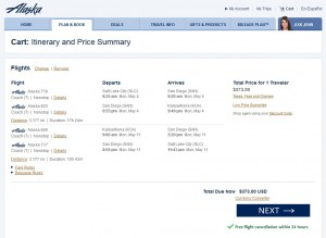 Salt Lake City to Kona, Hawaii: Alaska Airlines Booking Page