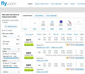 Salt Lake City to Kona, Hawaii: Fly.com Results