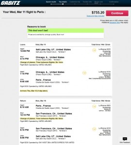 Salt Lake City to Amsterdam: Orbitz Booking Page