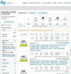 Washington, D.C.-Lima: Fly.com Search Results 2