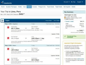 Washington, D.C.-Lima: Travelocity Booking Page