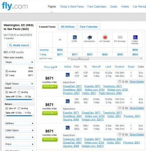D.C.-Sao Paolo: Fly.com Search Results