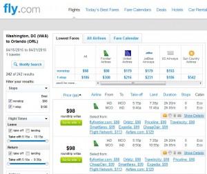 D.C. to Orlando: Fly.com Results