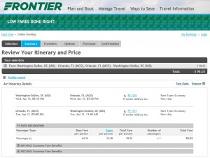 D.C. to Orlando: Frontier Booking Page