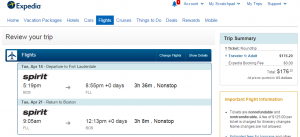 Boston to Fort Lauderdale: Expedia Booking Page