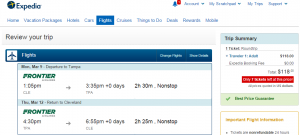 Cleveland to Tampa: Expedia Booking Page