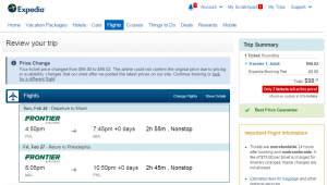 Philadelphia to Miami: Expedia Booking Page