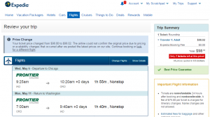 Washington, D.C.: Expedia Booking Page
