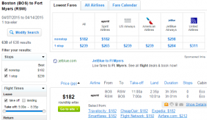 Boston to Fort Myers: Fly.com Results Page