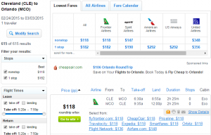Cleveland to Orlando: Fly.com Results Page