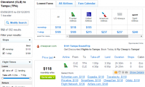 Cleveland to Tampa: Fly.com Results Page