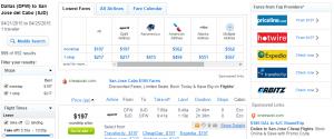 Dallas to Los Cabos: Fly.com Results Page