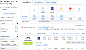 Los Angeles to London: Fly.com Results Page