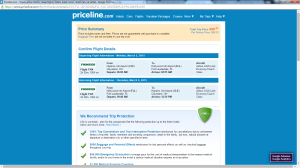 Cleveland to Fort Lauderdale: Priceline Booking Page