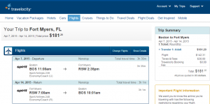 Boston to Fort Myers: Travelocity Booking Page