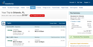 Cleveland to Orlando: Travelocity Booking Page