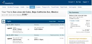 Dallas to Los Cabos: Travelocity Booking Page
