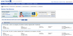 Los Angeles to London: American Airlines Booking Page