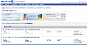 Seattle to SF: United Booking Page