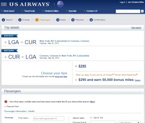NYC to Willemstad, Curacao: US Airways Booking Page