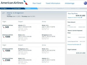 Atlanta-Bridgetown: American Booking Page