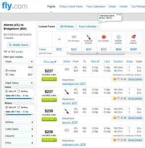 Atlanta-Bridgetown: Fly.com Search Results