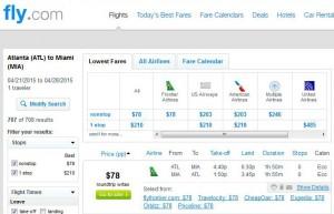 Atlanta-Miami: Fly.com Search Results