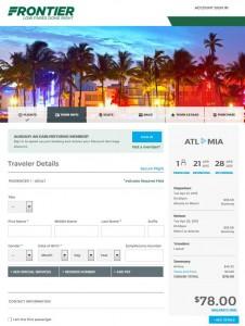 Atlanta-Miami: Frontier Booking Page