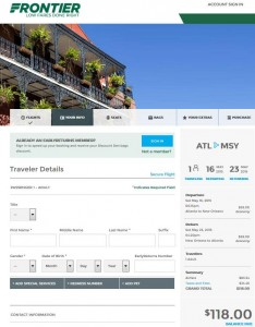 Atlanta-New Orleans: Frontier Booking Page