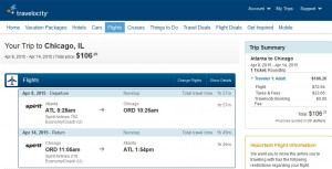 Atlanta to Chicago: Travelocity Booking Page