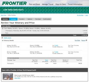 Atlanta to Denver: Frontier Booking Page