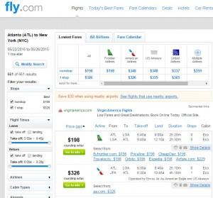 Atlanta to New York City: Fly.com Results