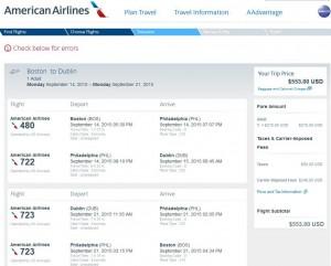 Boston-Dublin: American Booking Page