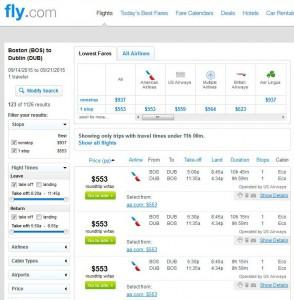 Boston-Dublin: Fly.com Search Results