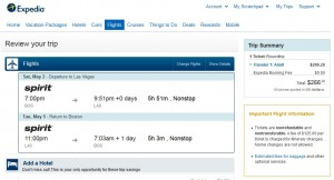 Boston to Las Vegas: Expedia Booking page