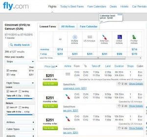 Cincinnati-Cancun: Fly.com Search Results