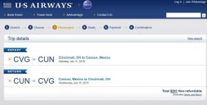 Cincinnati-Cancun: US Airways Booking Page