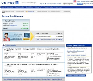 Chicago to Mexico City: United Booking Page
