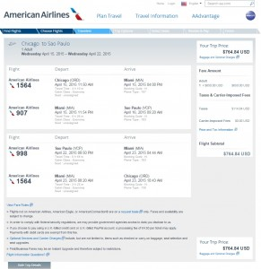 Chicago to Sao Paolo: American Airlines Booking Page