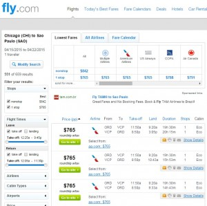 Chicago to Sao Paolo: Fly.com Results