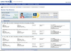 Cincinnati to Honolulu: United Booking Page