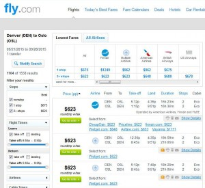 Denver-Oslo: Fly.com Search Results