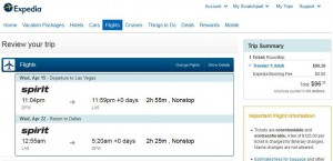 Dallas-Las Vegas: Expedia Booking Page