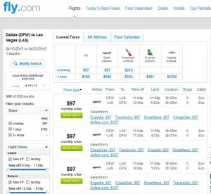 Dallas-Las Vegas: Fly.com Search Results