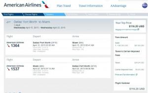 Dallas-Miami: American Booking Page