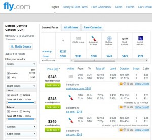 Detroit to Cancun: Fly.com Results