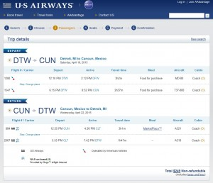 Detroit to Cancun: US Air Booking Page
