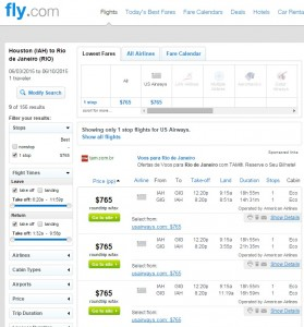 Houston to Rio de Janeiro: Fly.com Results