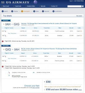 Houston to Rio de Janeiro: US Air Booking Page